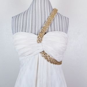 Cache Dresses - Cache | White and Gold One Shoulder Formal Gown